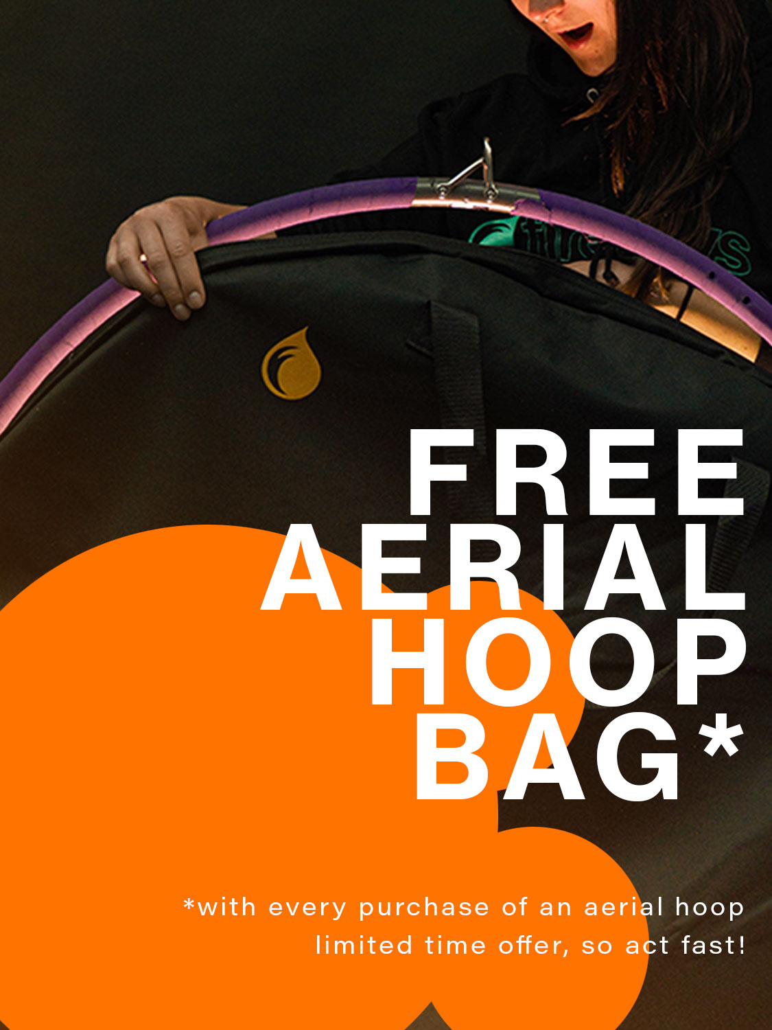 Banner image showing an aerialist opening a glowing hoop bag