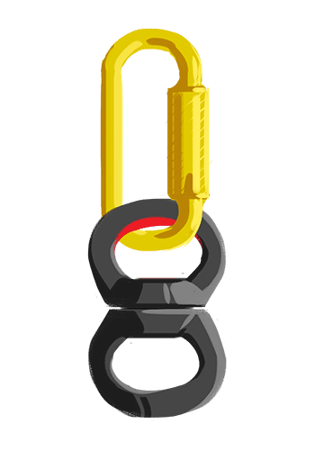 Carabiner attached to a swivel