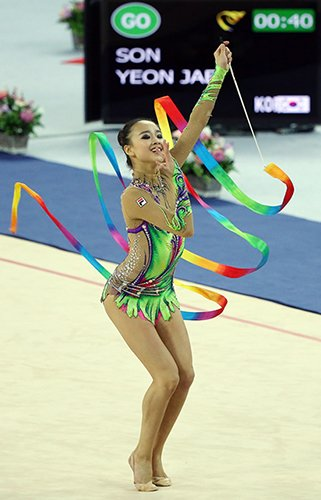 Rhythmic gymnasts are marked on artistry
